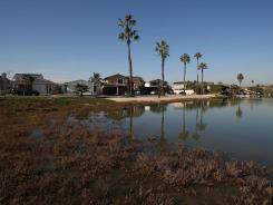 Homes aside a lagoon could be at risk of future sea level rise. The California Climate Adaptation Strategy predicts that sea level rise will likely inundate many California coastal areas by 2050.