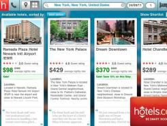 The hotels.com  iPad app.