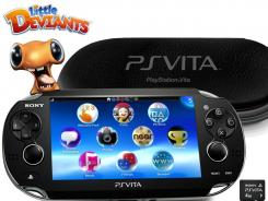 The new PlayStation Vita handheld video game system has two cameras, two analog joysticks and a rear touch pad for playing games including the new title 'Little Deviants'.
