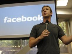 Facebook CEO Mark Zuckerberg at Facebook headquarters in Palo Alto, Calif.
