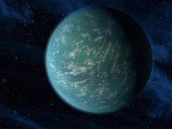 An artist rendering provided by NASA shows Kepler-22b, a planet known to comfortably circle in the habitable zone of a sun-like star.
