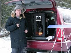 Kenneth Libbrecht, the snowflake professor, shown in the field in northern Ontario.