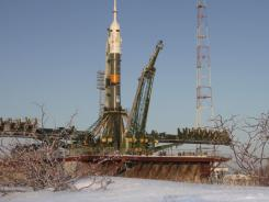 A Russian Soyuz TMA space craft stands on a launch pad in Kazakhstan.