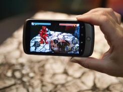 A game using augmented reality, the concept of superimposing virtual content on top of a view of the real world as seen through a camera.