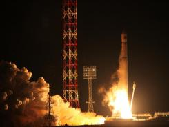 The Zenit-2SB rocket with the Phobos-Ground probe blasts off Nov. 9 at the Cosmodrome Baikonur in Kazakhstan.