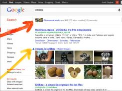 A screenshot provided by Google highlighting the Personal Results page.