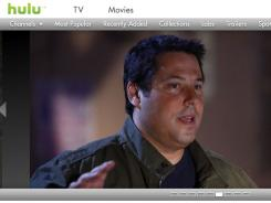 A screen grab of the home page of Hulu.com.