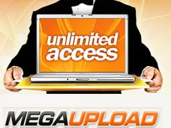 This image shows a web page from Megaupload.com, one of the largest file-sharing websites, which was shut down by U.S. authorities.