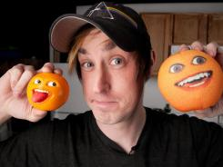 Dane Boedigheimer makes the 'Annoying Orange' videos in his Los Angeles garage.