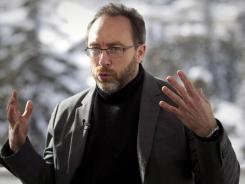 Jimmy Wales, founder of Wikipedia, speaks at the World Economic Forum in Davos, Switzerland.