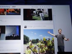 Facebook CEO Mark Zuckerberg introduces Timeline at the f8 conference in September 2011.