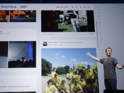 Facebook CEO Mark Zuckerberg shows Timeline during the f8 conference in San Francisco in September.