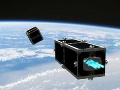The CleanSpace One is chasing its target, one of the CubeSats launched by Switzerland in 2009, in this illustration.