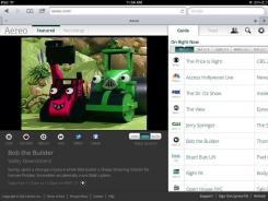 A screenshot from the iPad showing Aereo streaming 'Bob the Builder.'
