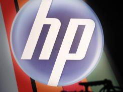 The corporate logo for Hewlett-Packard Co., is displayed at an HP Innovation Summit, in New York.