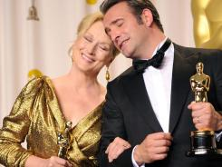 Actress Meryl Streep, winner of the Best Actress Award for 'The Iron Lady,' and actor Jean Dujardin, winner of the Best Actor Award for 'The Artist,' at the 84th Annual Academy Awards.