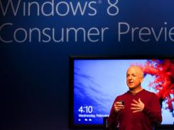 Steven Sinofsky, president of Windows and Windows Live, at the Windows 8 Consumer Preview presentation at the Mobile World Congress.