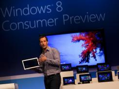 Microsoft executive Antoine Leblond at the Windows 8 Consumer Preview presentation at the Mobile World Congress in Barcelona.