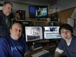 Kirk Wolfinger, top left, Rushmore DeNooyer and Tony Bacon put the final touches on a documentary about the mapping of the Titanic debris field.