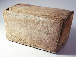 A bone box or 'ossuary,' which reportedly bears the Aramaic inscription, 'Yaakov bar Yosef akhui di Yeshua.' Translated, it reads 'James, son of Joseph, brother of Jesus.'