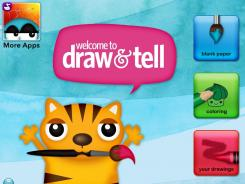 After creating artwork, kids can record a story and save it with their drawing in 'Draw and Tell HD - by Duck Duck Moose,' a new app for the iPad.