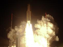 The European Space Agency's ATV Edoardo Amaldi lifts off on an Ariane-5 launcher from the European space centre on March 23, 2012 in Kourou, French Guiana.