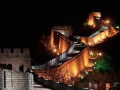 The Great Wall is illuminated during the Earth Hour 2012 on Saturday in Beijin.