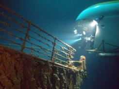 A MIR submersible skims Titanic's bow in the 2003 James Cameron documentary 'Ghosts of the Abyss.'