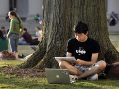 Jonathan Chien, 19, a sophomore majoring in bioengineering and computer science at MIT, studies for an exam March 21 on the school's campus in Cambridge, Mass.