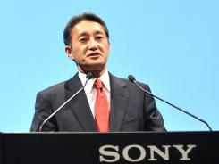 Sony's new chief Kazuo Hirai speaks during a press briefing to announce his plans to turn around the iconic firm at the company's headquarters in Tokyo.