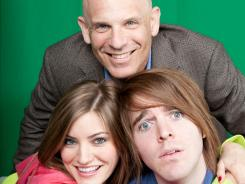 Collective CEO Michael Green, top, posing with two of his YouTube star clients, Justine Ezarik (left) and Shane Dawson (right).