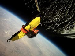 An iPad protected by a G-Form Extreme Edge case is lifted to 100,000 feet by a weather balloon.
