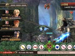 Shulk and his companions battle a giant amphibian in 'Xenoblade Chronicles.'