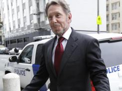 Oracle CEO Larry Ellison arrives for a court appearance at a federal building in San Francisco on Tuesday.