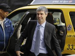 Google CEO Larry Page walks into a federal building in San Francisco.