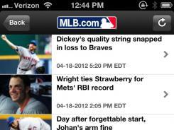 A screenshot of the MLB At Bat 2012 app.