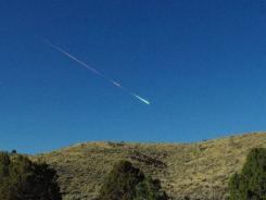 A meteor soars over Reno, Nev., on Sunday. Reports of the fireball have come in from as far north as Sacramento, Calif.