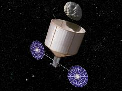 A conceptual drawing of an asteroid-collecting spacecraft.