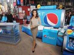 Actress Eva Longoria promotes the 'Pepsi Next Drink It To Believe It' event in Times Square on April 6, 2012.