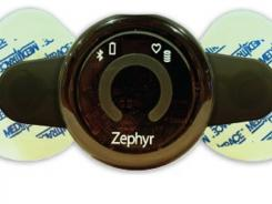 Zephyr Technology's BioHarness sensors can be worn as a patch, seen here, or as a strap.