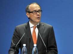 Nokia's outgoing Chairman of the Board Jorma Ollila speaks during the Annual General meeting of Nokia Corporation in Helsinki, Finland May 3, 2012.