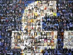 A collage of profile pictures makes up a wall in the break room at the new Facebook Data Center in Forest City, N.C.