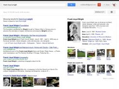 "New look: Google Knowledge Graph results for a search on ""Frank Lloyd Wright."""