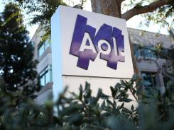 The AOL logo on a sign in front of AOL offices in Palo Alto, California.