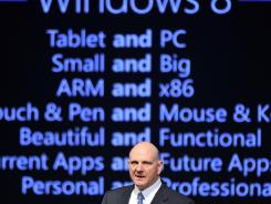 Microsoft CEO Steve Ballmer delivers a speech at the Seoul Digital Forum in Seoul earlier in May.
