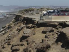 The parking lot at Ocean Beach is shown in San Francisco on May 24. Officials are mulling a significant retreat on the beach's western flank.
