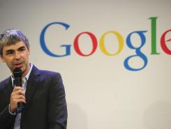 Google CEO Larry Page holds a press announcement at Google headquarters in New York on May 21.