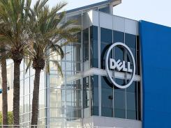 The Dell logo on the exterior of the new Dell research and development facility.