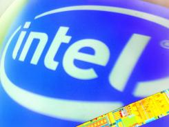 The Intel logo at the 2012 Computex in Taipei on June 7.