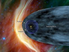 This artist's rendering released Tuesday shows Voyager 1 and Voyager 2 at the edge of the solar system.